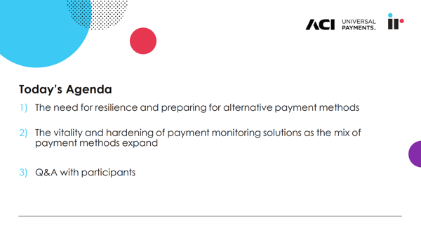 Agenda for Payments Clarity and Certainty in Times of Crisis Webinar