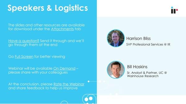 Speakers & Logistics
