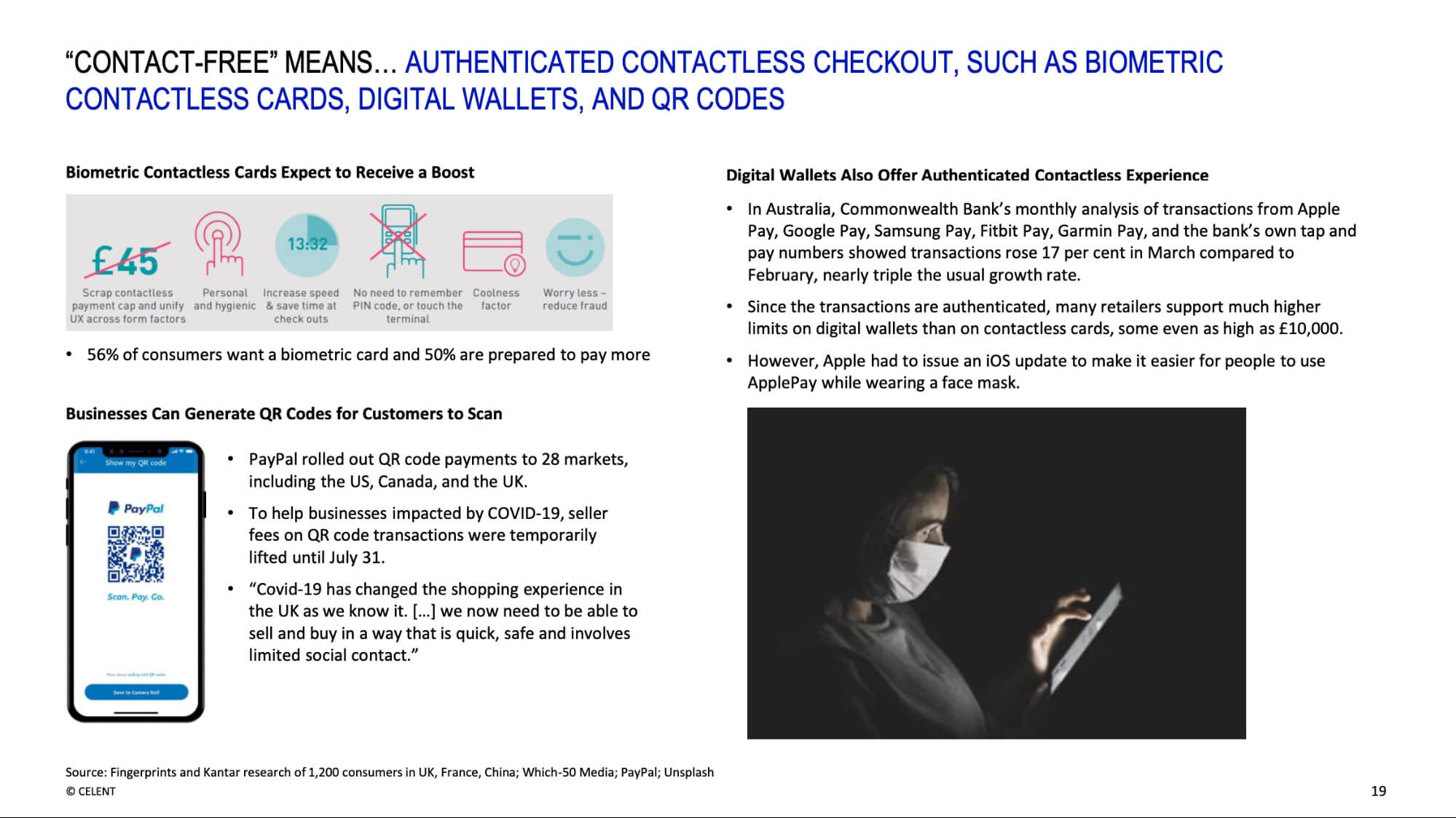 Contact-free means.. Authenticated contactless checkout, such as biometric contactless cards, digital wallets and QR codes