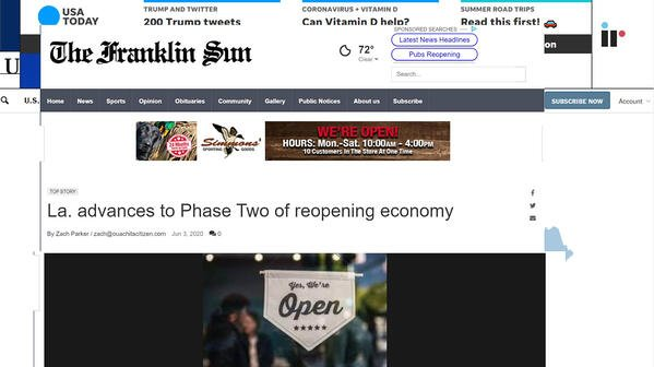 La. advances to Phase Two of reopening economy